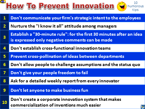 Innovation Joke, humorous advice, tips, how to prevent innovation, Vadim Kotelnikov